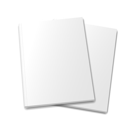 collection of various  blank white   books on white background 写真素材
