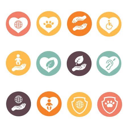 volunteer: Charity donation social services and  volunteer white round buttons set isolated  illustration