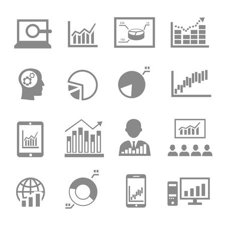 stock trader: Market analysis, diagrams icons black on white