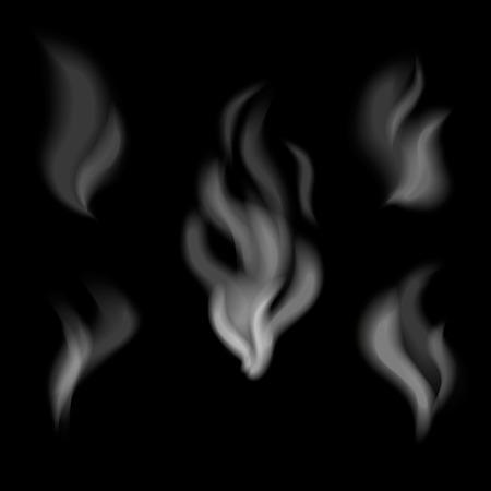 smoke: Dise�o humo realista. Conjunto de vector de humo sobre fondo negro Vectores