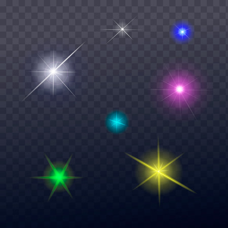 fx: Stars and sparkles - collection of design elements  on transparent background - vector Illustration