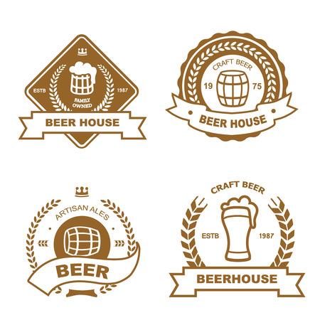 beer house: Set of vintage monochrome badge, icon and design elements for beer house, bar, pub, brewing company, brewery, tavern, restaurant - mug, glass, barrel, wheat icons