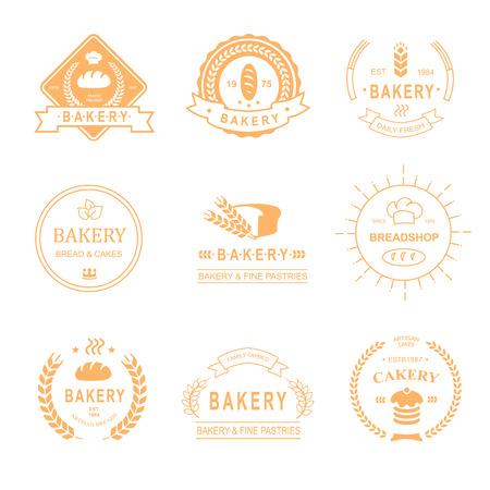 bread shop: set di panificio e un negozio di pane icona, etichette, scudetti e elementi di design - pane, pagnotta, spiga di grano, torta icone vettoriali