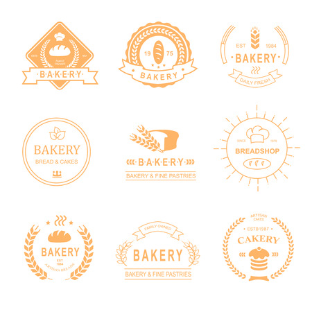 bread loaf: set of bakery and bread shop icon, labels, badges and design elements - bread, loaf, wheat ear, cake icons-vector Illustration