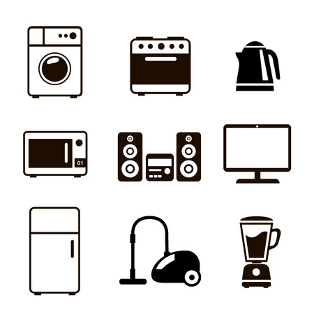 Household Appliances Icons with stereo  washing machine   fridge kettle vacuum cleaner and stove 向量圖像