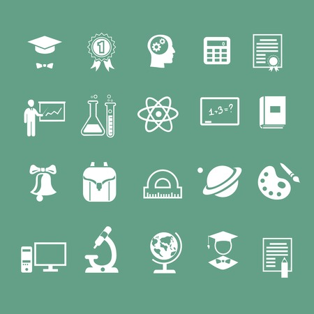 learning language: school education signs, icons,  white silhouette Stock Photo