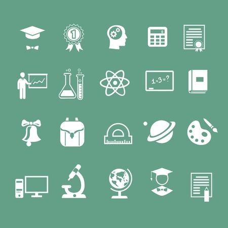 signos de educación escolar, iconos, silueta blanca