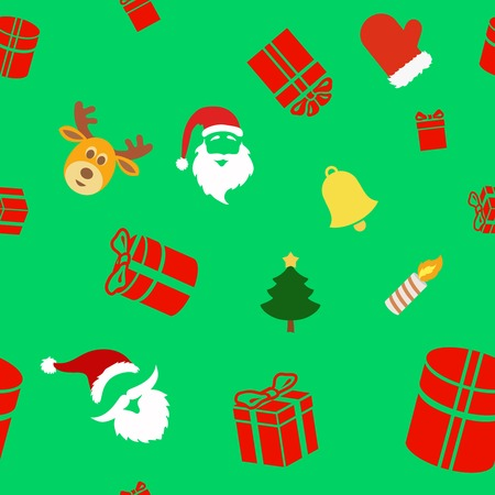 clause: christmas santa seamless  patternSeamless holiday background with cute Christmas characters, Santa Clause, bell, gift box and Reindeer Stock Photo