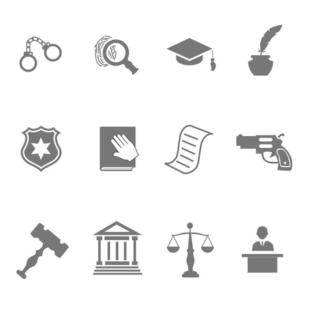 patrolman: Set of black and white silhouette justice and police icons with a badge  handcuffs  court  judge  gavel  lawyer  gun  mortarboard hat  law book   scales   and an investigation