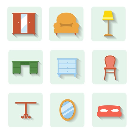 davenport: colored flat icons furniture.   set indoor design Stock Photo