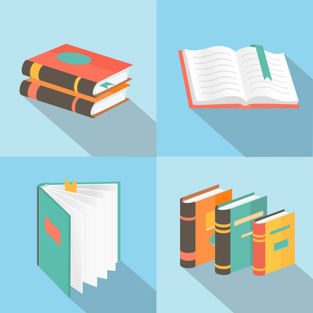 Vector book signs and symbols -  education concepts in flat style