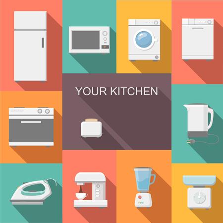 Set van keukenapparatuur vlakke pictogrammen met een wasmachine fornuis koelkast ijzer magnetron schaal waterkoker koffiezetapparaat en broodrooster Vector Illustratie