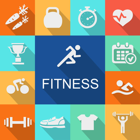 strength training: Sports background with fitness icons  in flat  style