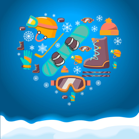 snowboarder: Winter Sports background with snowboard equipment flat icons.  Helmet, snowboard, boots glasses