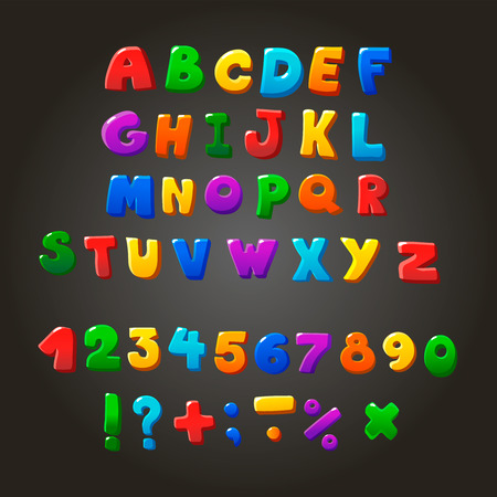 orthographic: Multicolored kids Vector Font,  letters,  numbers and orthographic symbols