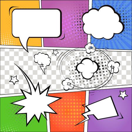 Comic tekstballonnen en stripverhaal op kleurrijke halftone achtergrond vector illustratie