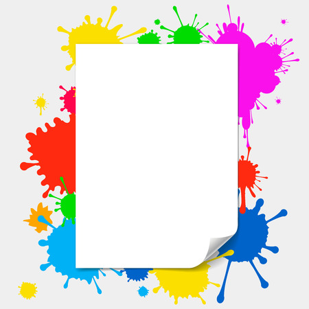 paint drop: blank paper with page curl   illustration on colored splashes background Illustration