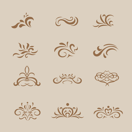 graphic designing: Beautiful  white vintage vector decorative elements and ornaments for graphic designing such as in greeting cards and web pages .