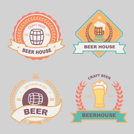 beer house: Beer, bub, bar, label design logo and vintage badge set