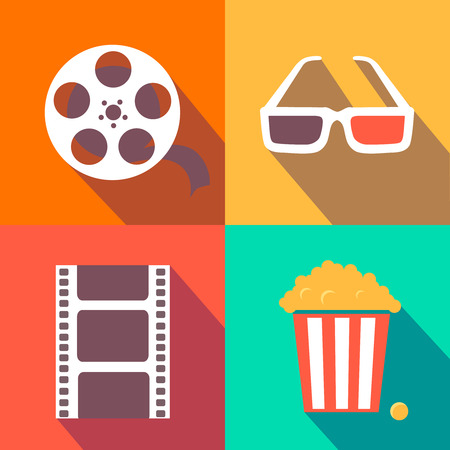 3D glasses: Set of movie design elements and cinema icons in flat style