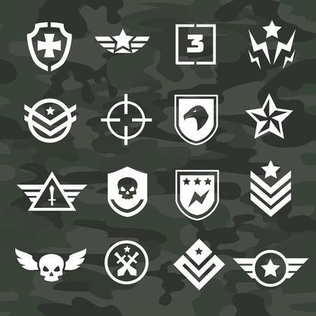 estrellas  de militares: Iconos de símbolos militares y logotipos de las fuerzas especiales