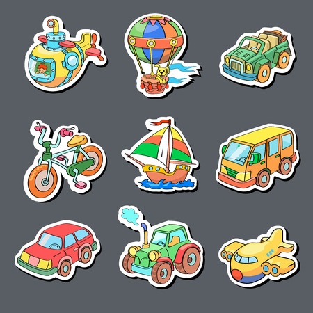 toy boat: Cartoon collection of Transportation icons - Colored stickers