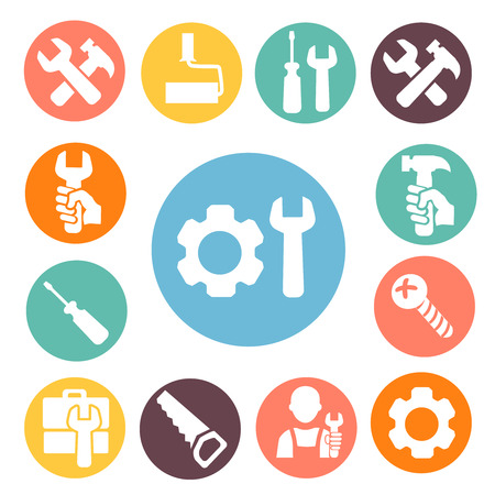 workshop: Working Tools isolated icons buttons set