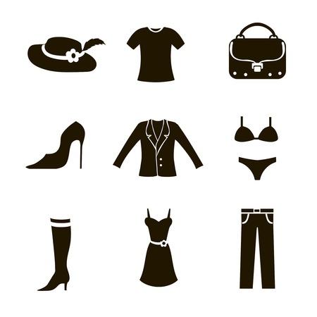 t shirt blouse: clothes icon set woman black on white background trousers bag jacket shoes t-shirt