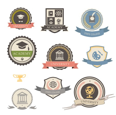 University, college and academy heraldic emblems logo with shields, buildings, wreaths, ribbons and education elements Archivio Fotografico