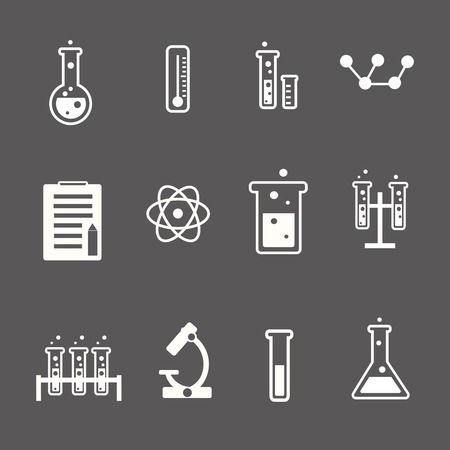 research: Set of white science and research icons on a grey background depicting laboratory glassware test tubes glass  atom  thermometer and retort stand Stock Photo