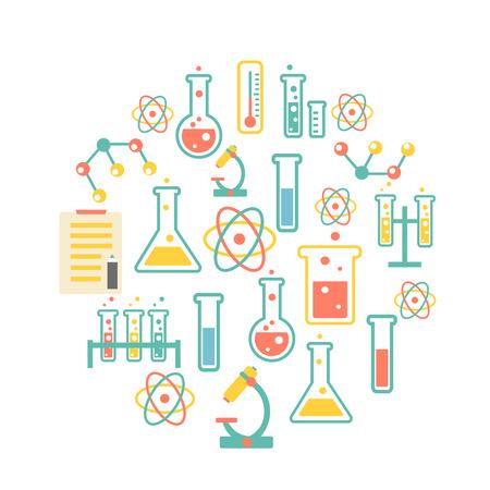 onderzoek: chemie pictogrammen achtergrond voor biologie en medisch onderzoek posters