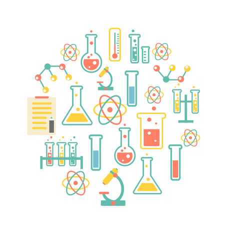 drug discovery: chemistry icons background for  biology and medical research posters