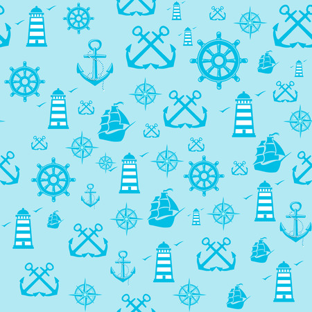 Vector sample Pattern Seamless with Marine  elements. Vector
