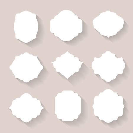 surround: Set of vector white silhouette frames  or cartouches for badges flat style Illustration