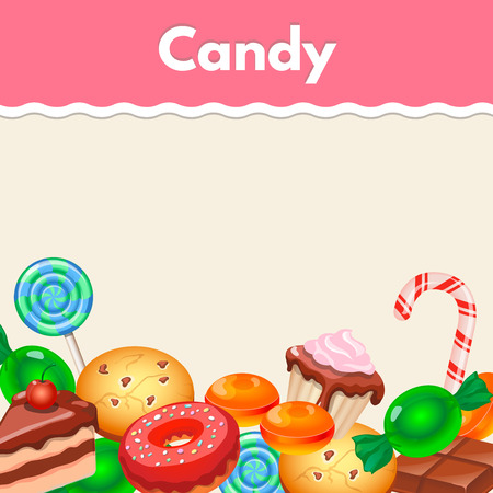 Background with colorful sticker candy,  sweets and cakes. Illustration