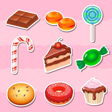 manjar: Conjunto de colores diferentes de dulces, dulces y pasteles pegatinas. Vectores