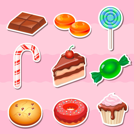 Set of colorful various candy, sweets and cakes stickers. Illustration