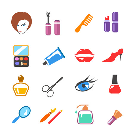 personal care: beauty  and make up vector colored  icons