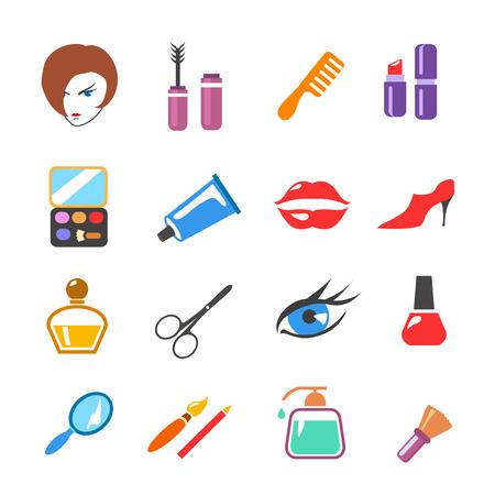 make up: la beaut� et maquillage color� vecteur ic�nes