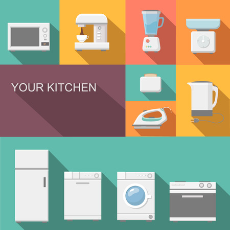 Set of kitchen appliances flat icons  with  a washing machine  stove  fridge iron  microwave scale  kettle  coffee machine and toaster Vector