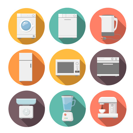 flat iron: Set of household appliances flat icons on colorful round web buttons with a washing machine. Microwave, coffee machine. fridge,  stove. juicer. scales