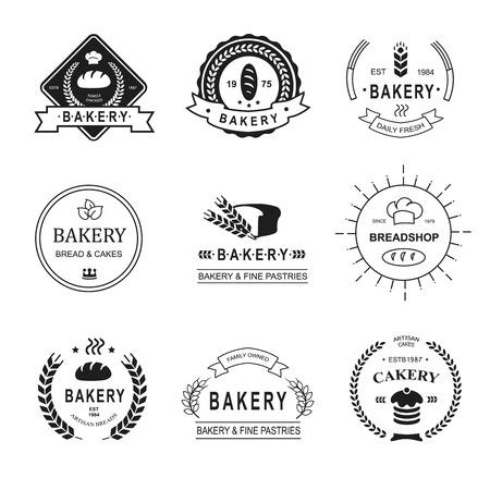pain frais: Jeu de logos de boulangerie, �tiquettes, �cussons et des �l�ments de conception