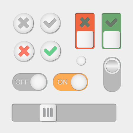 Vector Toggle switch icons. On and Off, Check Mark  skrollbar