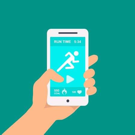 smart phone: Fitness app on a mobile phone in hand on a green background. Vector illustration