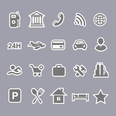 amenities: Icons for locations and services  airport    shopping restaurant  hotel  gas station Illustration