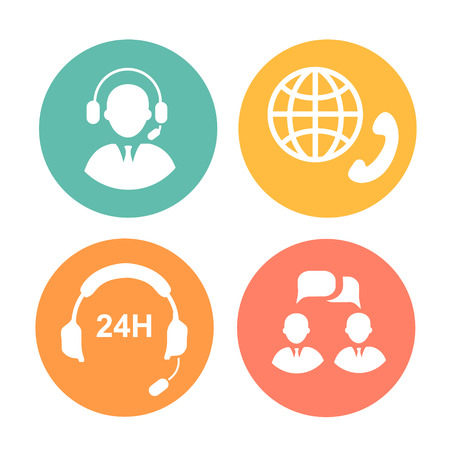 vector call center icons of operator, headset and handset Vettoriali