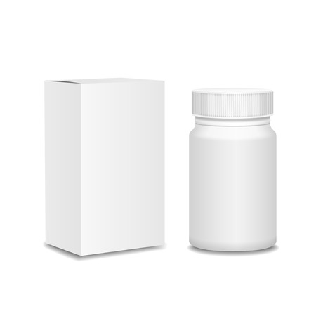 Blank medicine bottle and cardboard packaging, vitamins, examples and templates on white background