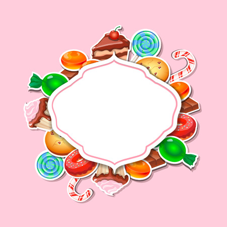 Background with colorful sticker candy,  sweets and cakes. Place for text