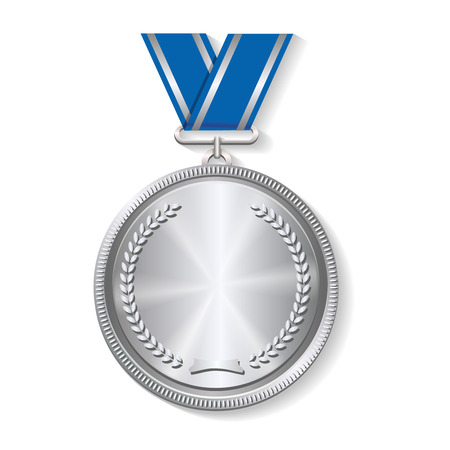 silver medal: Champion silver medal with  with a concentric circle texture pattern and ribbon  vector illustration on white background