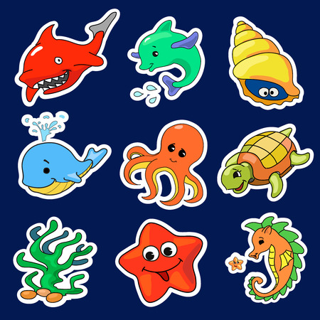 creatures: Illustration of the different sea creatures stickers Stock Photo